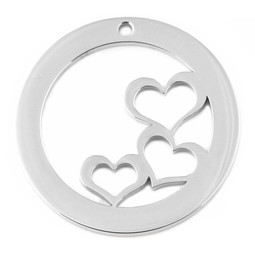 Design Washer Hearts - SILVER - Stainless Steel