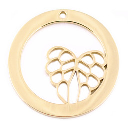 Design Washer Wings - 18ct GOLD Plated - Stainless Steel