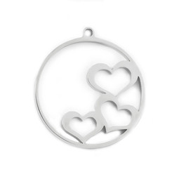 316-MMCHS Create Combine Change Charm Hearts SILVER