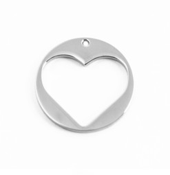 Heart Charm Disc (28mm) SILVER - Stainless Steel (To be discontinued)