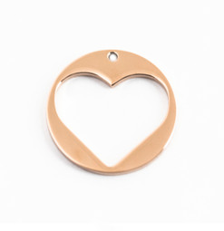 Heart Charm Disc (28mm) 18ct ROSE GOLD Plated - Stainless Steel (To be discontinued)