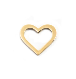 Heart Charm Washer - 18ct GOLD Plated - Stainless Steel (To be discontinued)