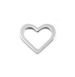 Heart Charm Washer - SILVER - Stainless Steel (To be discontinued)