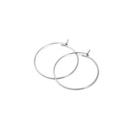 Earring Hoop Pair - SILVER - Stainless Steel
