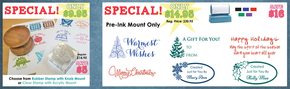 Custom Pre-Ink Stamp Specials