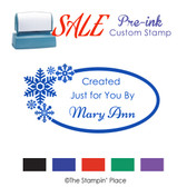 SPECIAL: Snowflakes Oval  Style: Pre-ink Stamp
