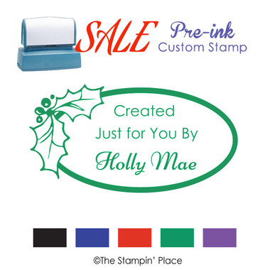 SPECIAL: Holly Oval  Style: Pre-ink Stamp