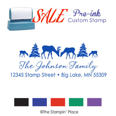 SPECIAL: Deer Family Address Style: Pre-ink Stamp