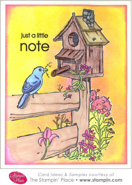 Birdhouse Fence Card Ideas Samples Rubber Stamps