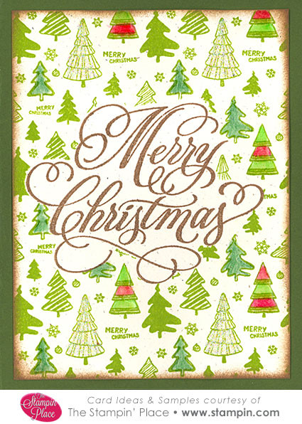 merry christmas with tree background   card ideas  u0026 samples   rubber stamps  art stamps  custom