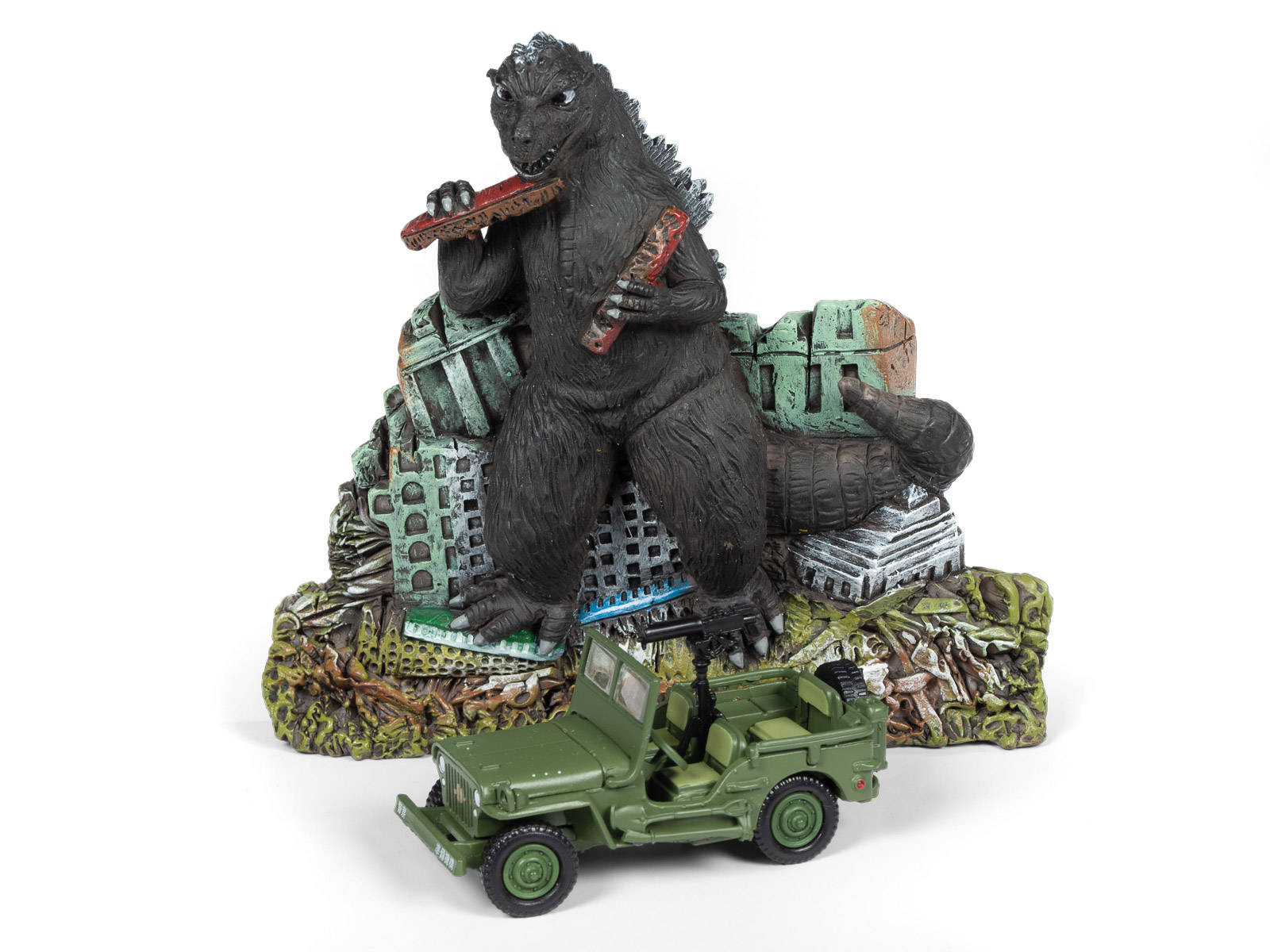 Godzilla Silver Screen Series Façade Diorama - Japan Poilce Reserve Corps. Willys MB Jeep