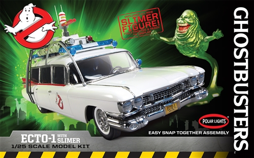 pol958 Polar Lights 958 Ghostbusters Ecto-1 with Slimer 1:25 Scale Snap-It Plastic Model Kit