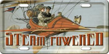 Steam Powered Steampunk License Plate