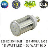 LED CORN COB LIGHT LAMP 18 WATT 2000 LUMENS 5000K 360° REPLACES 50 WATT HID VE LTG VERL18WA1