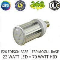 LED CORN COB LIGHT LAMP 22 WATT 2860 LUMENS 5000K 360° REPLACES 70 WATT HID VE LTG VERL22WA1