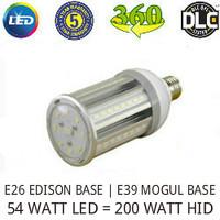 LED CORN COB LIGHT LAMP 54 WATT 6500 LUMENS 5000K 360° REPLACES 200 WATT HID VE LTG VERL54WA1