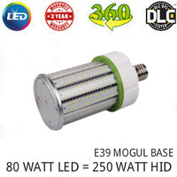 LED CORN COB LIGHT LAMP 80 WATT 8500 LUMENS 5000K 360° REPLACES 250 WATT HID VE LTG CLW80WA1-E39-5000K