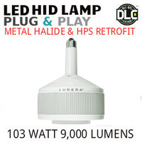 LED HID RETROFIT LAMP PLUG&PLAY REPLACES 250W-150W HID E26 3500K LUNERA SN-V-E26-B-9KLM-835-G3