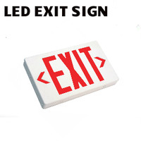 LED EXIT SIGN RED WHITE 120V-277V BATTERY B/U BEST EZXTEU-2-R-W-EM