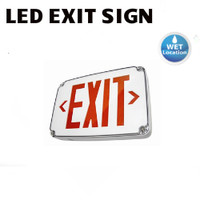 LED EXIT SIGN RED WHITE 120V-277V WET BATT B/U BEST WLEZXTEU-1-R-W-EM