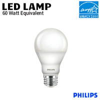 LED A19 Warm Glow 9.5W 800 Lumen 27K-22K Dim 120V Philips 9.5A19/LED/827-22 DIM