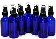 2 oz Cobalt Blue Bottle with Black Sprayer - Pack of 12
