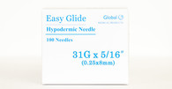 "Easy Glide Hypodermic Needles 31g x 5/16"" - Box of 100"