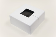 "Square 10"" x 10"" Base Cover with 3"" x 3"" Square Opening - 4 1/2"" Tall - White Paint Finish"
