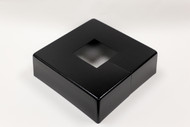 "Square 10"" x 10"" Base Cover with 3"" x 3"" Square Opening - 4 1/2"" Tall - Black Paint Finish"