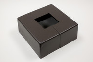 "Square 12"" x 12"" Base Cover with 3"" x 3"" Square Opening - 4 1/2"" Tall - Bronze Paint Finish"