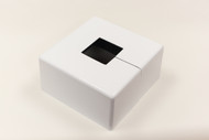 "Square 12"" x 12"" Base Cover with 5"" x 5"" Square Opening - 4 1/2"" Tall - White Paint Finish"