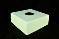 "Square 10"" x 10"" Base Cover with 4"" Diameter Round Opening - 4 1/2"" Tall - White Paint Finish"