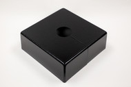 "Square 10"" x 10"" Base Cover with 5"" Diameter Round Opening - 4 1/2"" Tall - Black Paint Finish"