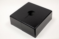 "Square 14"" x 14"" Base Cover with 3"" Diameter Round Opening - 4 1/2"" Tall - Black Paint Finish"
