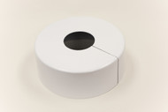 """Round 10"""" Diameter Base Cover with 4"""" Round Opening - 4 1/2"""" Tall - White Paint Finish"""