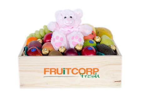 Fruit Hamper with Pink Teddy & Ferrero Chocolate