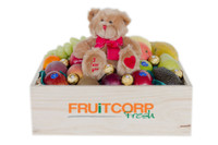Fruit Hamper with I Love You Brown Teddy & Ferrero