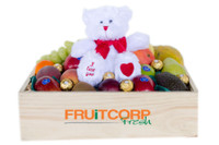 Mixed Fruit Hamper with I Love You White Teddy & Ferrero