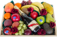 Mixed Fruit with GH Mumm & Silk Red Roses