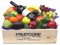 Fruit Gift Hamper in a hand crafted wooden box with a bottle of Wyndham Estate Shiraz.