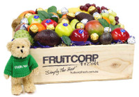 Say Thank you with this Beautiful Wooden Gift Box with a Thank you Message Bear, Fresh Fruit, Ferrero Rocher Chocolates and Baci Chocolates.
