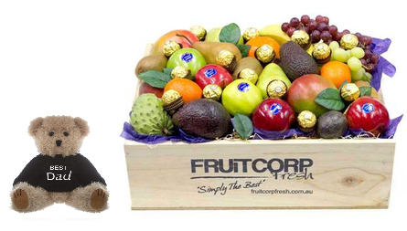 A soft plush teddy with a Best Dad message on its  jumper, in a wooden hamper box filled with beautiful fresh fruit and ferrero  chocolates.