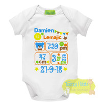 Birth Announcement Onesie (Teddy & Button Design)