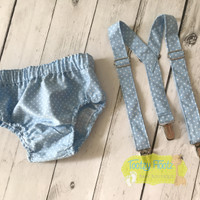 Cake Smash 2 Piece Set - Baby Blue & White Themed  (Nappy Cover & Suspenders)