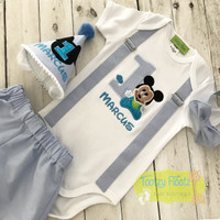 Mickey Inspired - Birthday 4 Piece Set <Top with sewn in suspenders, Shorts, Bow Tie & Hat) Baby Blue Theme