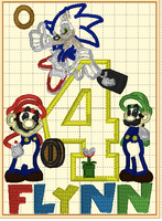 Mario, Luigi & Sonic Birthday (Mario & Sonic Words on Back)