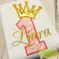 Birthday Number (Baby Pink) with Crown (Gold)