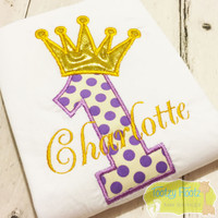 Birthday Number (Soft Purple) with Crown (Gold)
