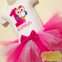 Owl Themed Birthday (Pink Number / Pink & White Tutu) Set