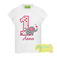 Elephant Themed Birthday (Multi Pink Polka Dot Number)